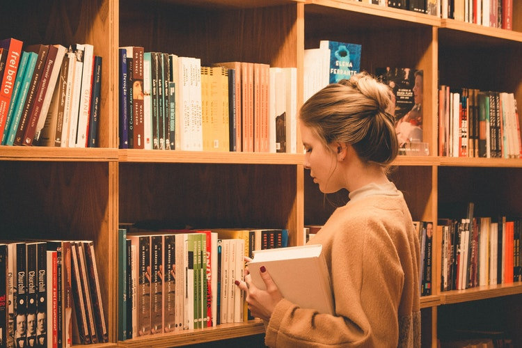 Library and girl