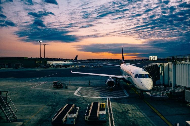 Plane during sunset