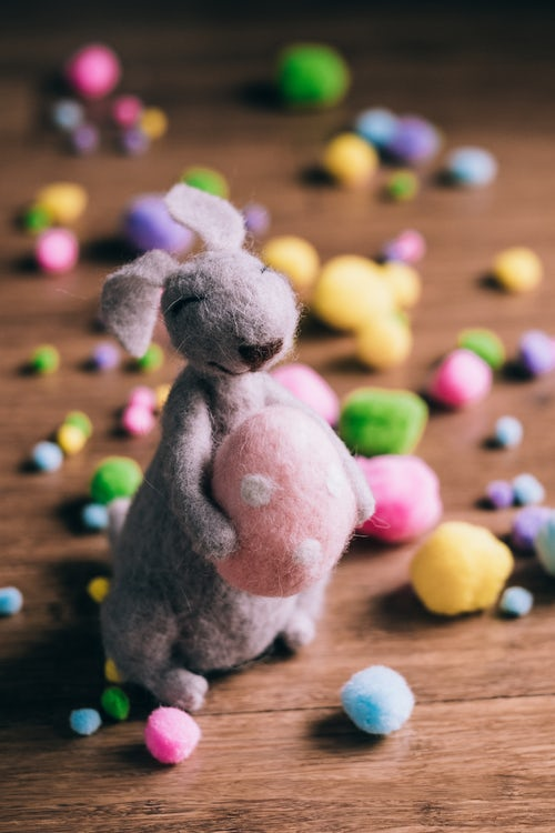 puppet rabbit and eggs